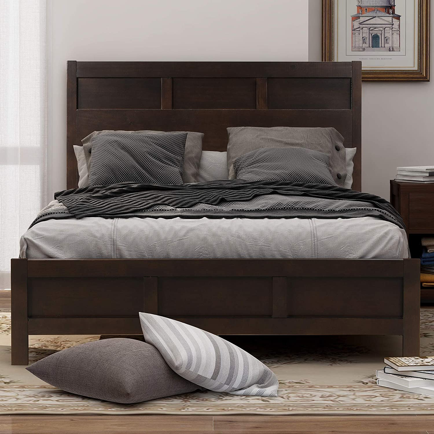 Bedroom Set with Twin Size Platform Bed Merax 6 Pieces Bedroom Furniture Set Chest and Mirror Rich Brown Color Two Nightstands Dresser