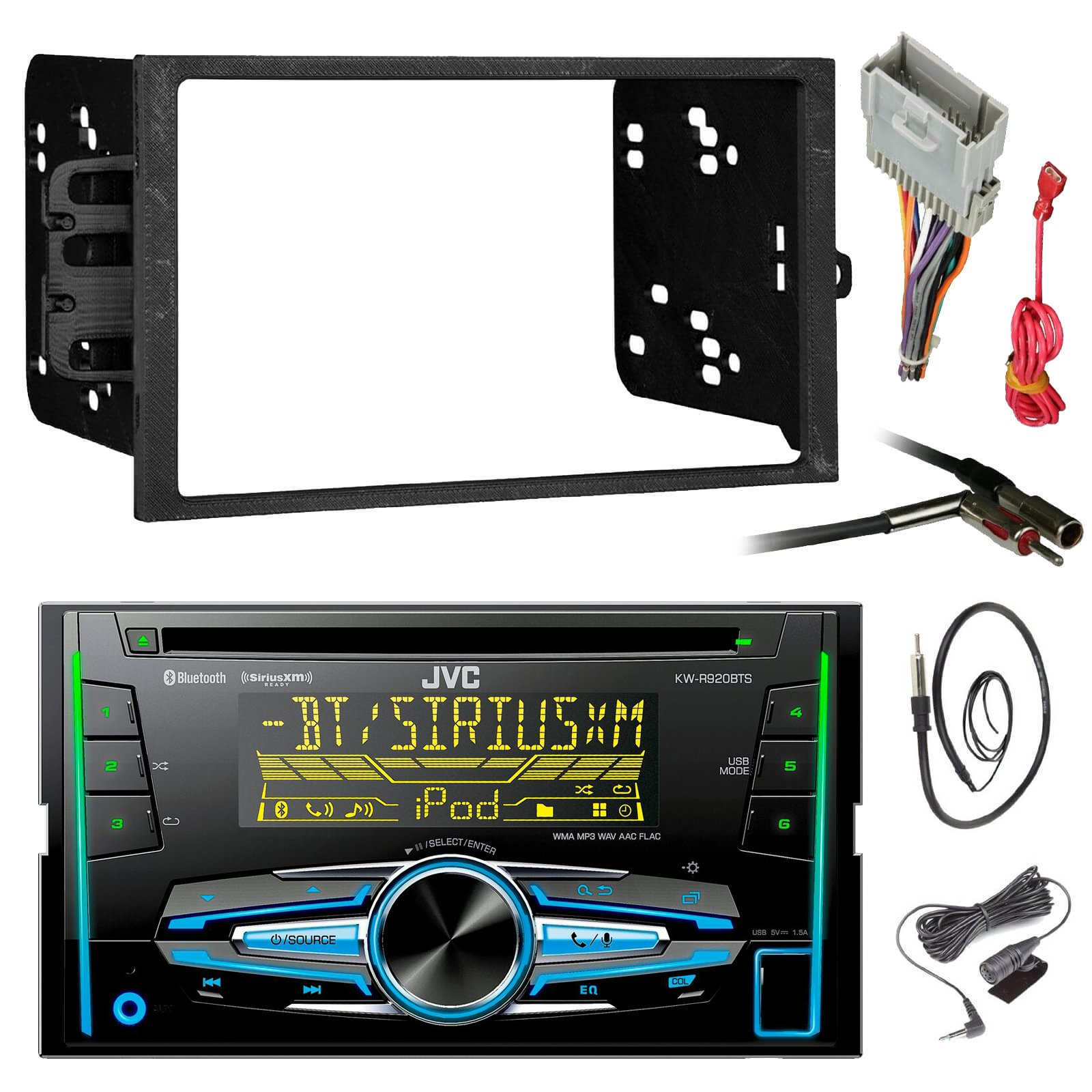 JVC KW-R920BTS Double DIN Bluetooth Car Stereo Receiver CD Player Bundle Combo With Metra installation kit for car stereo (Fits Most GM Vehicles) + Wire Harness + Enrock 22'' Radio Antenna With Adapter by Enrock JVC Metra