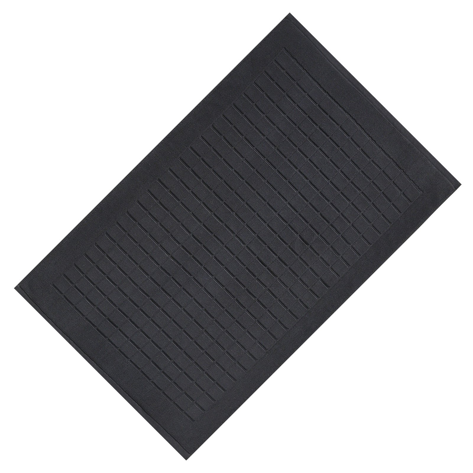 VEEYOO Luxury Hotel and Spa Quality 100% Cotton Absorbent Extra Soft Bath Mat for Shower, Black Bathroom Mat 1 Pack 20''x32'' Checkered