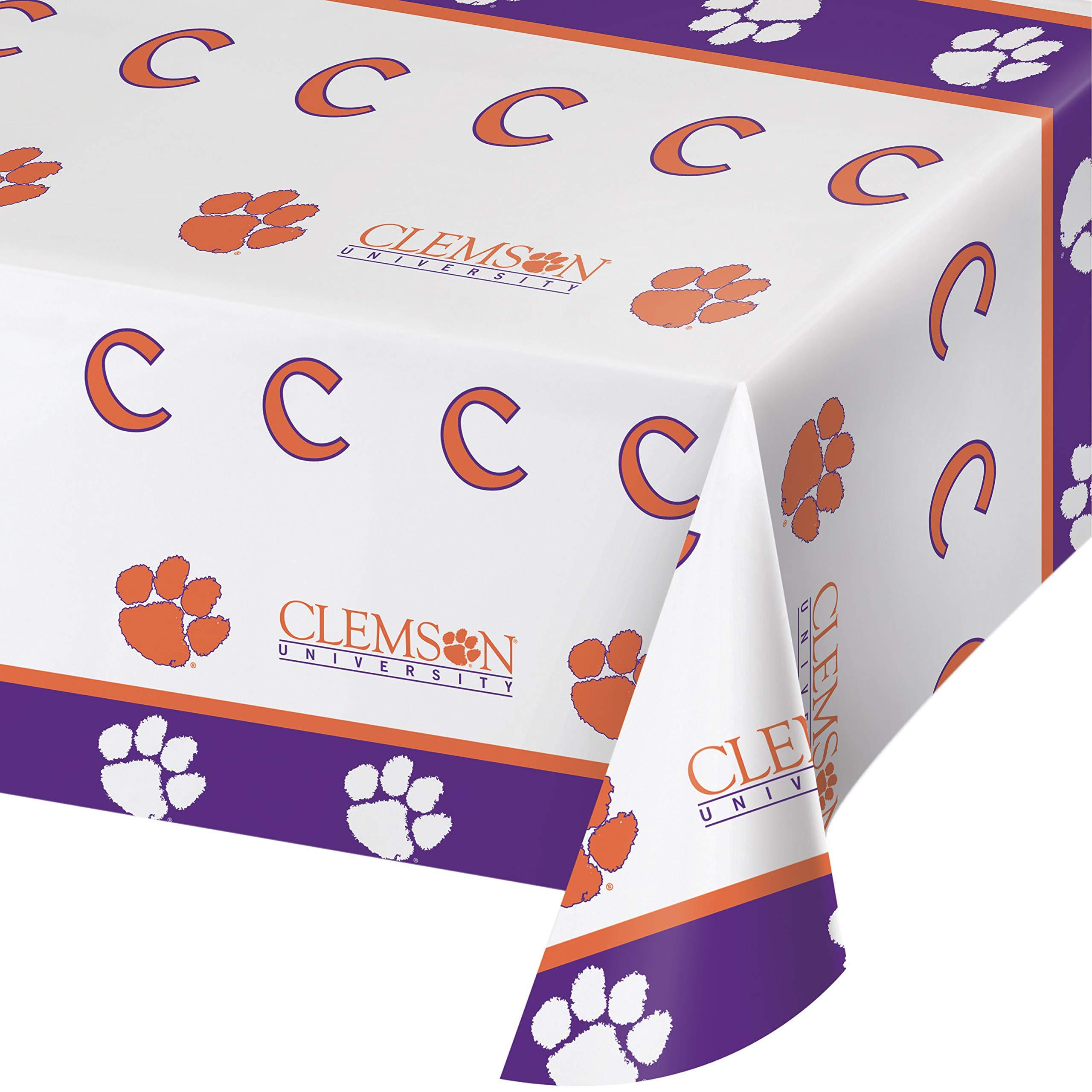 Clemson University Plastic Tablecloths, 3 ct
