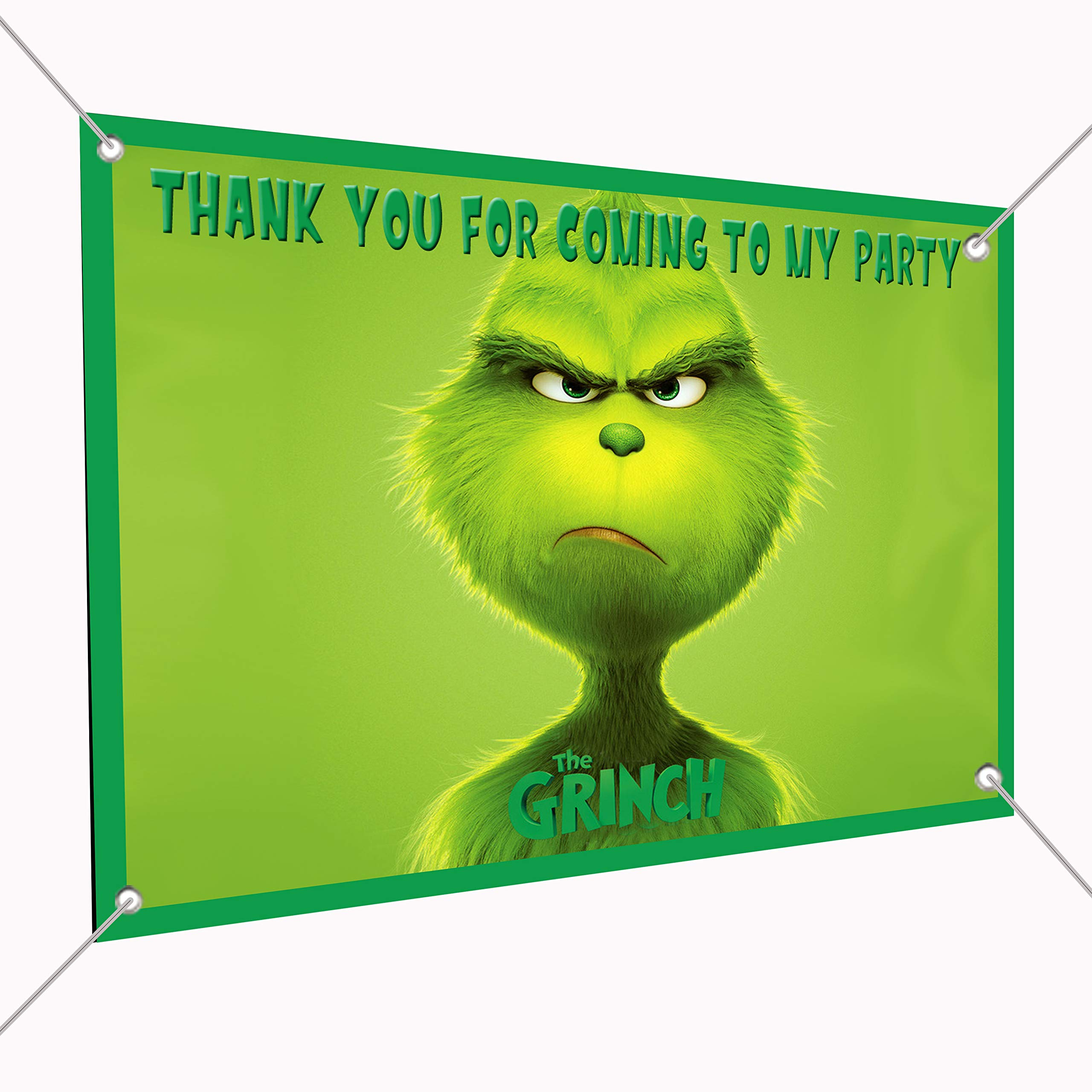 The Grinch Movie Banner Large Vinyl Indoor or Outdoor Banner - Sign Poster Backdrop, Party Favor Decoration, 30'' x 24'', 2.5' x 2' who Stole Christmas, Whoville, Dog Max, Cindy Lou Who