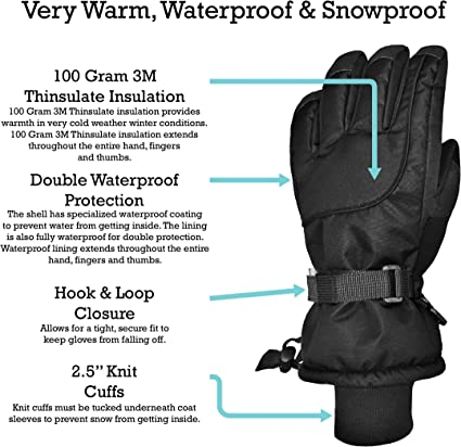 NIce Caps Kids 100 Gram Thinsulate Extreme Cold Weather Waterproof Mittens