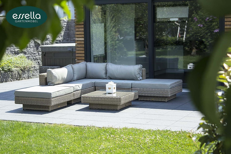 polyrattan lounge melbourne 6 personen rundgeflecht hellbraun gartenm bel terassenm bel. Black Bedroom Furniture Sets. Home Design Ideas