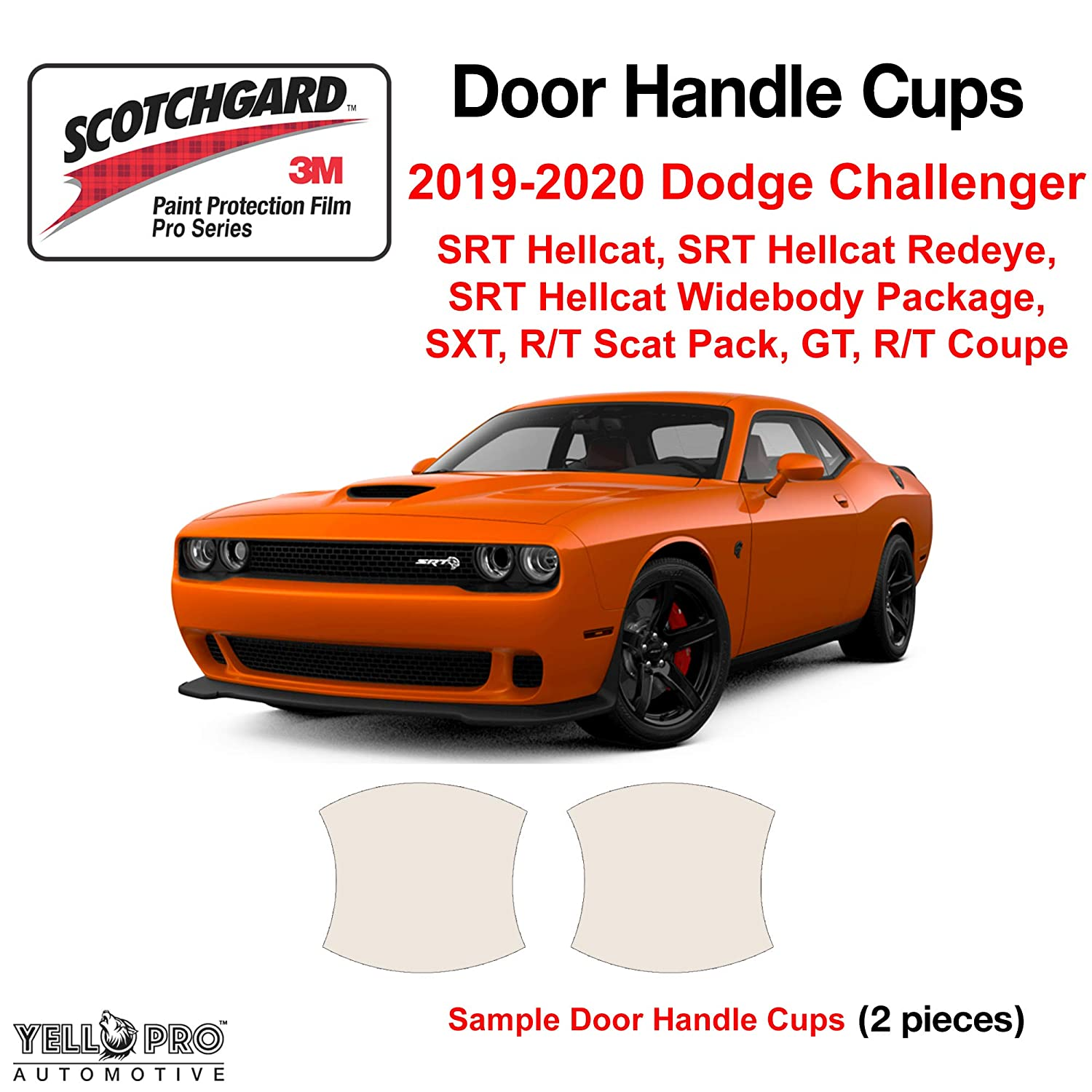 YelloPro Custom Fit Door Handle Cup 3M Anti Scratch Clear Bra Paint Protector Film Cover Self Healing PPF Guard For 2019 2020 Dodge Challenger SRT Hellcat,Redeye,Widebody SXT,RT Scat Pack,GT,RT Coupe