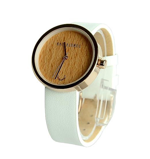 NATURJUWEL design - reloj de pulsera hecha a mano de madera natural especiales; colores oro