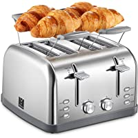 Yabano 4 Slice Toaster, Bagel Toaster with 7 Bread Shade Settings and Warming Rack, 4 Extra Wide Slots, Defrost/Bagel…