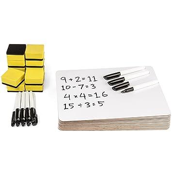 Pizarra blanca para ordenador portátil, 12 tablas, gomas de borrar y bolígrafos (-728): Amazon.es: Oficina y papelería