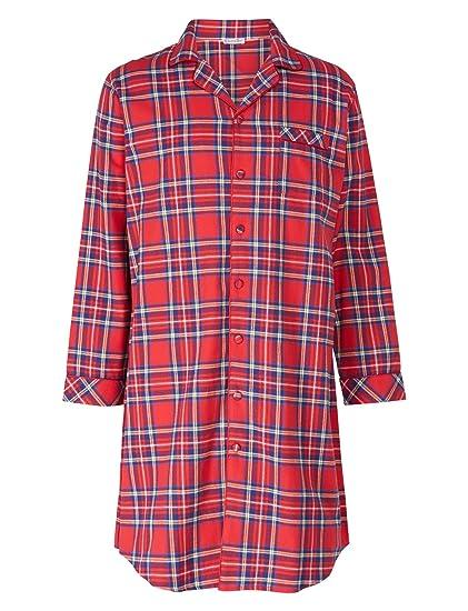 d7400f1b7c Walker Reid Mens Tartan Nightshirt Yarn Dyed 100% Cotton Twill Button Up  Traditional Nightwear (Red)  Amazon.co.uk  Clothing