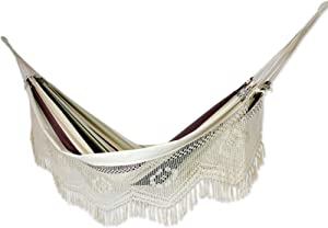 NOVICA Dark Green Brown White Stripe 2 Person Cotton Brazilian Hammock with White Crochet Fringe, Joyous Earth' (Double)