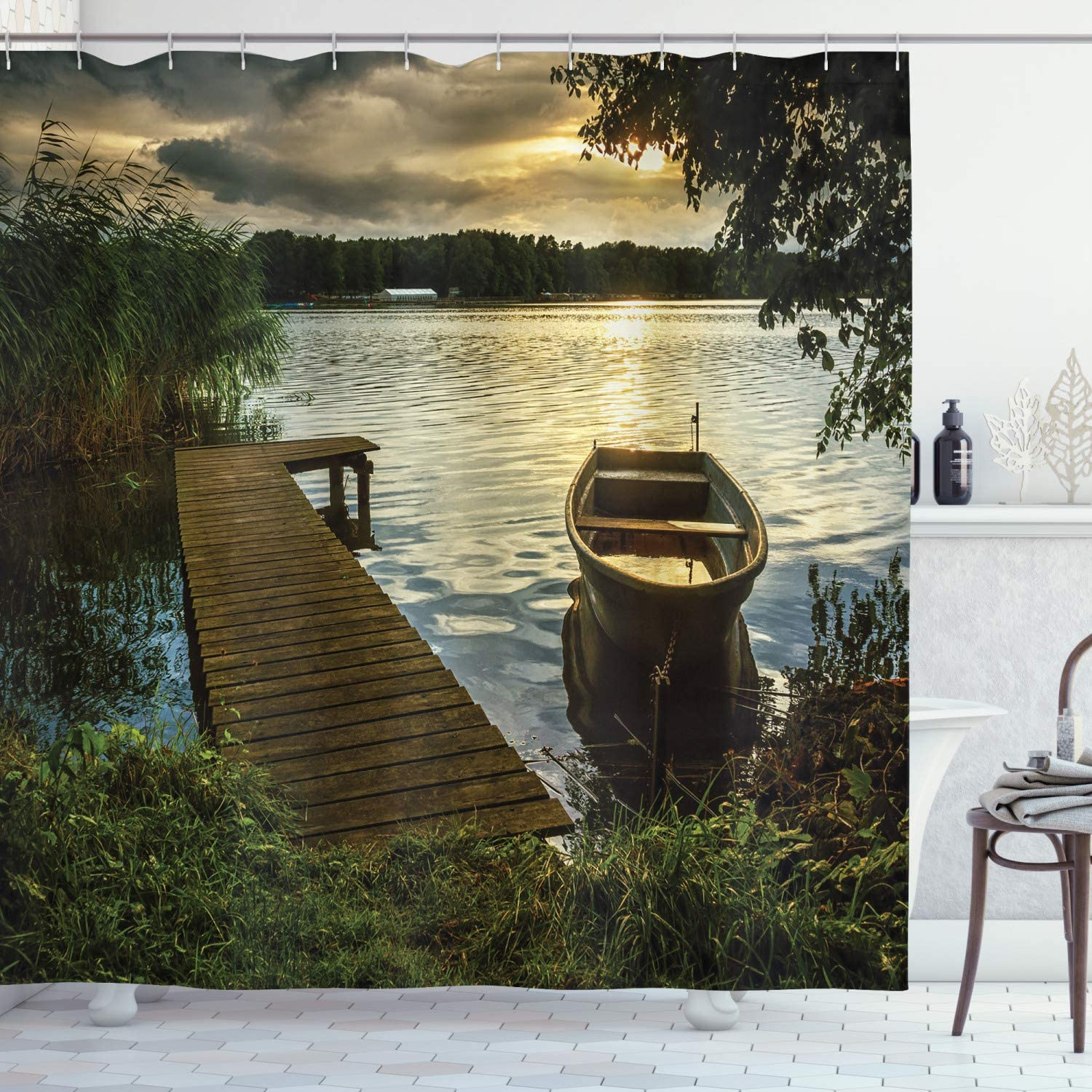 """Ambesonne Seascape Shower Curtain, Boat at Lake Shore with Wooden Pier Sunset Sunbeams Romantic Evening, Cloth Fabric Bathroom Decor Set with Hooks, 70"""" Long, Green Yellow"""