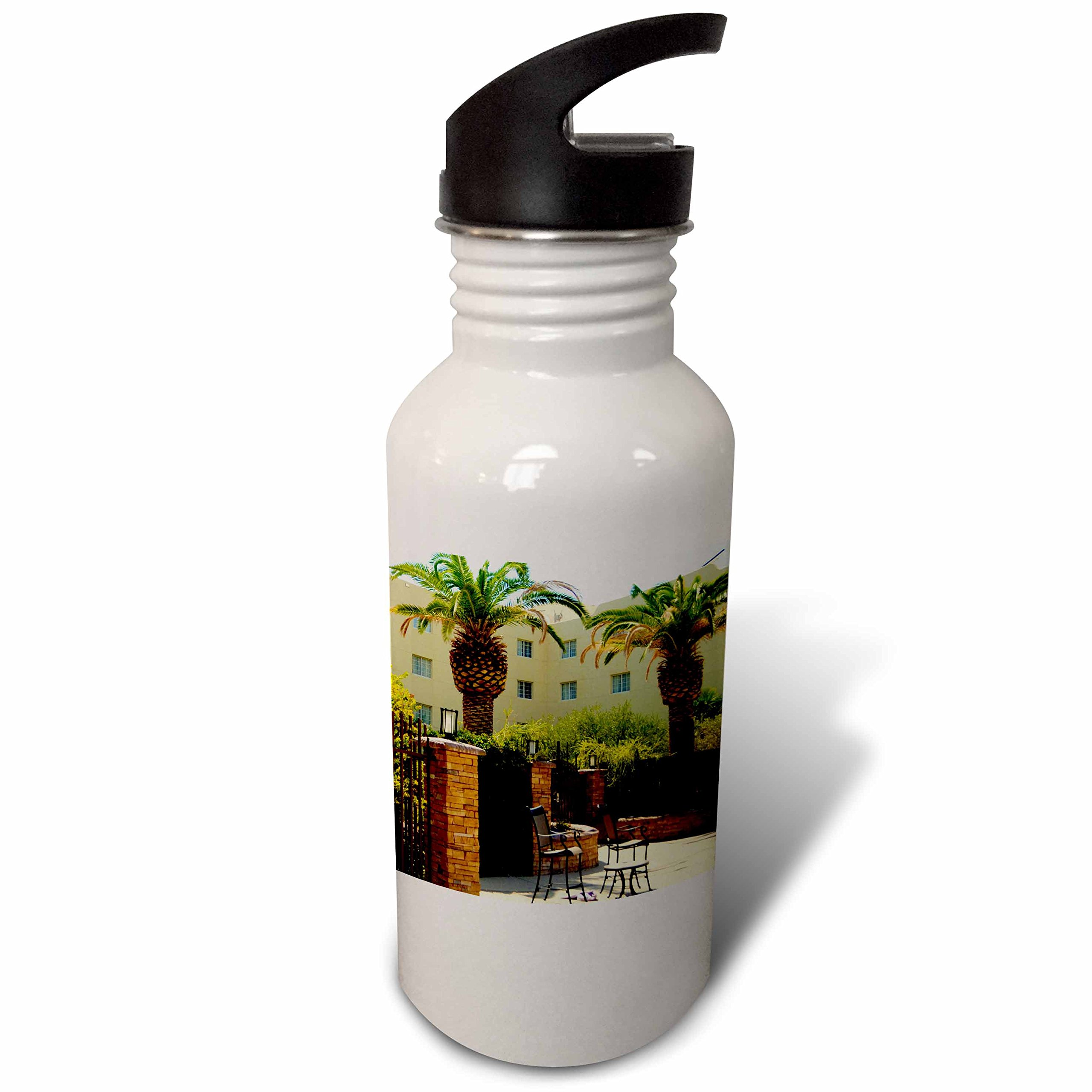 3dRose Jos Fauxtographee- Palms at Hotel - A hotel in Mesquite Nevada with palm trees and chairs - Flip Straw 21oz Water Bottle (wb_273463_2)