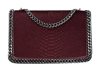 CRAZYCHIC - Damen Kette Tasche - Schlange Umhängetasche Pelz Fell Gesteppte  Leder Imitat Klappe - Kettenhenkel 226be0332a