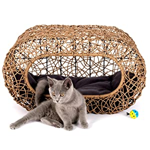 D+ Garden Fun Stackable Cat Condo for Indoor Cats - Interactive Play Rattan Cat House for Indoor Cats Kitty, Pet Friendly Top/Side House Entry, Cat Bed Enclosed