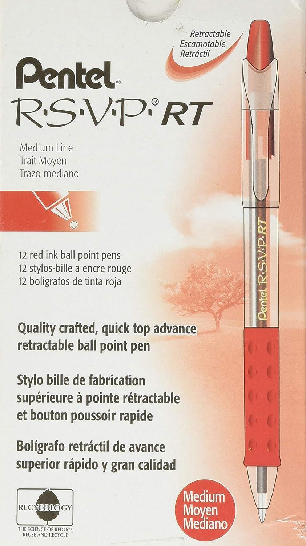 Pentel R.S.V.P. RT Retractable Ballpoint Pen, 1.0mm Tip, Red Ink, Box of 12 (BK93-B)
