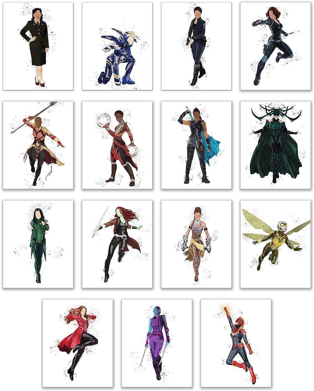 Watercolor Avengers Girls Prints - Set of 15 (8x10 Inches) Glossy Comic MCU Wall Art Decor - Black Widow- Captain Marvel - Scarlet Witch - Valkyrie - Hela - Nakia - Shuri - Okoye - Mantis - Gamora