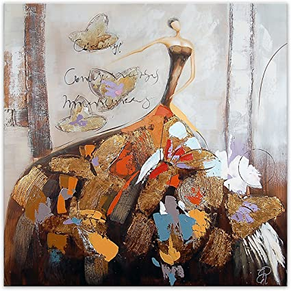 Adm Femme Avec Papillons Tableau Peint A La Main Figuratif Sur Toile Avec Decorations En Relief Et Monte Sur Chassis Entoile Haut As335x1 Amazon Fr Cuisine Maison