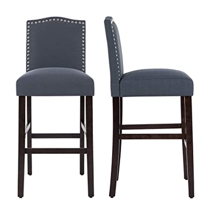 Merveilleux LSSBOUGHT Set Of 2 Classic Fabric Barstools Dining High Counter Height Side  Chairs (Misty Gray