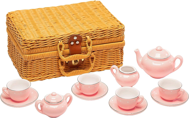 PSE Juego Infantil de té de 13 Piezas de Porcelana Rosa con Cesta de Mimbre