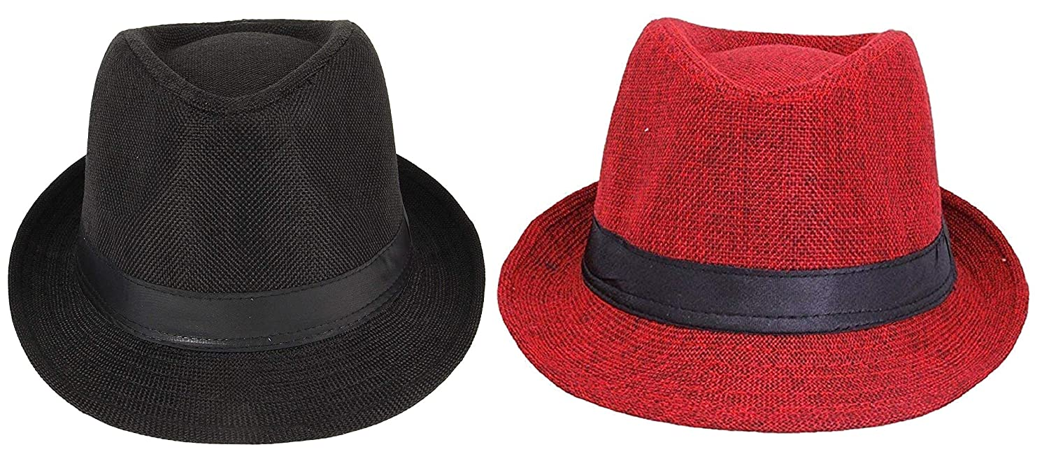 Zacharias Men s Fedora Round Hat Pack of 2 Black   Red Free Size  Amazon.in   Clothing   Accessories bc2d9f12adb8