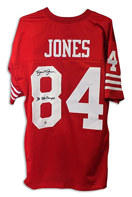 Brent Jones San Francisco 49ers Autographed Red Jersey Inscribed  quot 3X  SB Champs quot  - 32b322e56