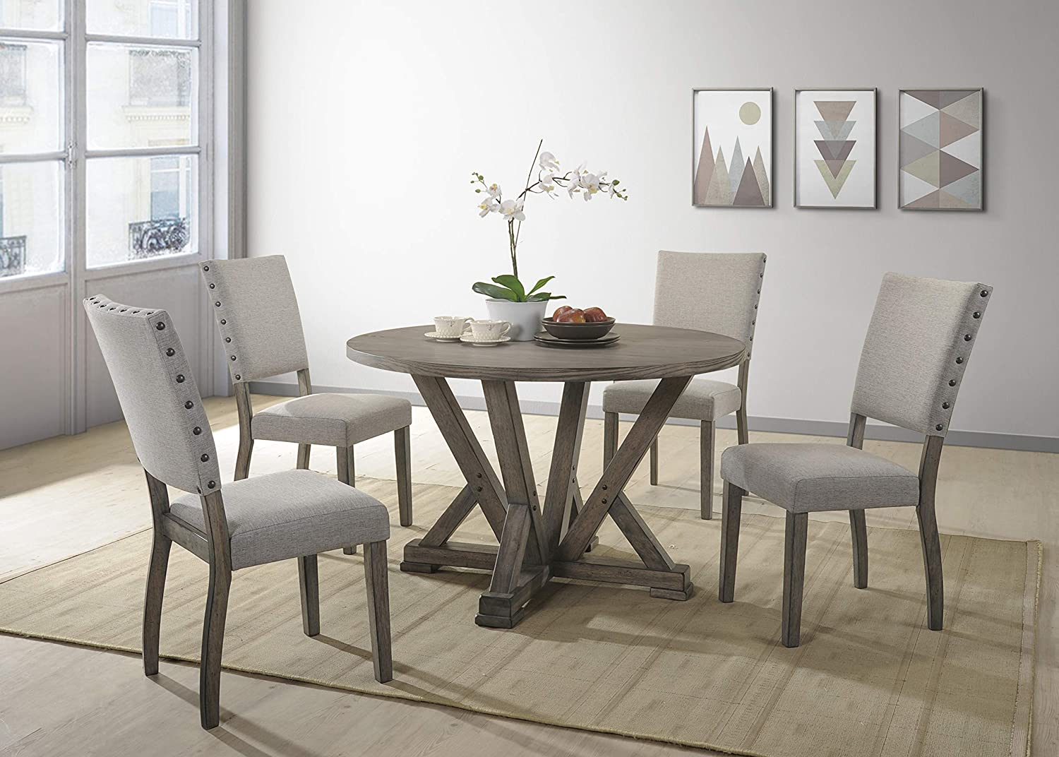 Best Master Furniture 5 Piece Dining Table Set Gray Amazon Co Uk Kitchen Home