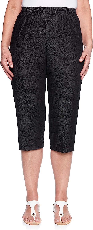 Alfred Dunner Women's Around Denim Capris Pants-Elastic Waist Jeans
