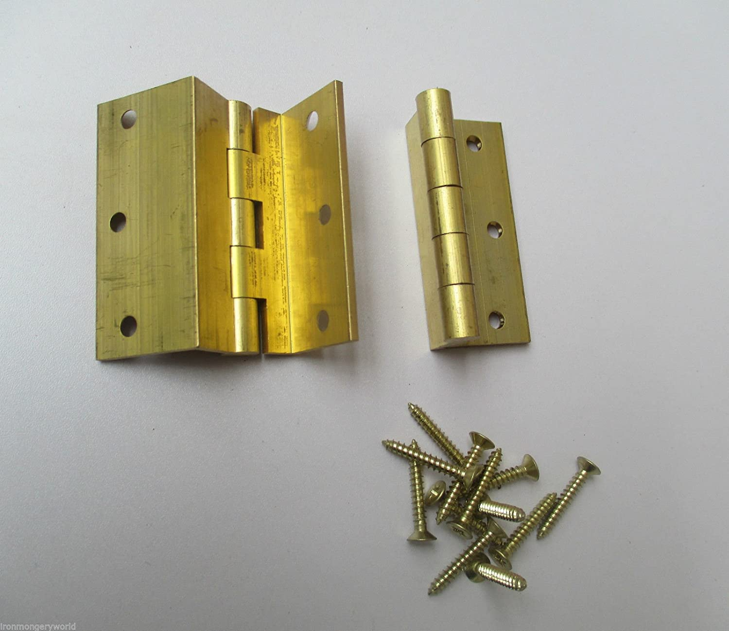 IRONMONGERY WORLD ® 2 X SOLID BRASS - storm proof top hung window hinge cranked casement window door IRONMONGERY WORLD ®