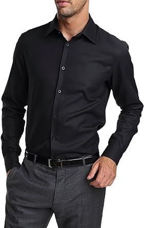 Caramelo, Camisa Vestir Slim Cuello Ingles, Hombre · Negro, talla 50: Amazon.es: Ropa y accesorios