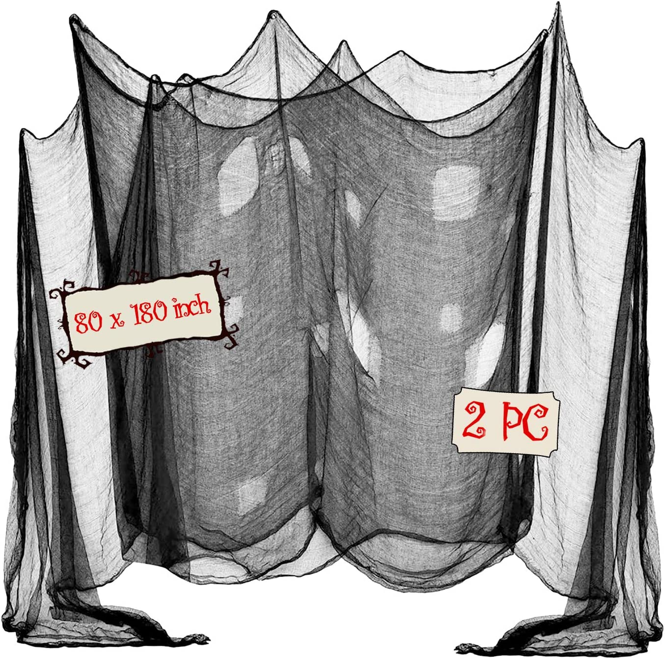 OZMI Halloween Creepy Cloth, Pack of 2 Scary Spooky Cloth Creepy Gauze, 80 x 180inch Freaky Loose Weave Creepy Cloth, Decorations for Haunted Houses Props Halloween Wall Outdoor Indoor Decor (Black)
