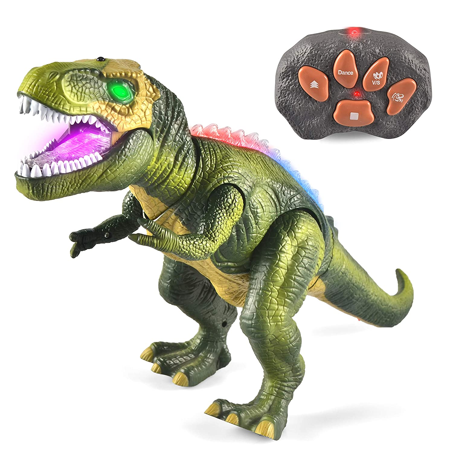 JOYIN LED Light Up Remote Control Dinosaur Walking and Roaring Realistic T Rex Dinosaur Toys with Glowing Eyes Walking Movement Shaking Head For Toddlers Boys Girls