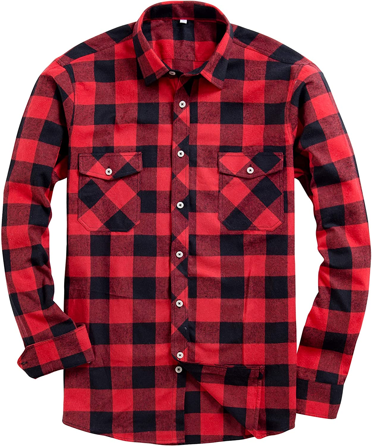 Alimens & Gentle Men's Button Down Regular Fit Long Sleeve Plaid Flannel Casual Shirts: Clothing