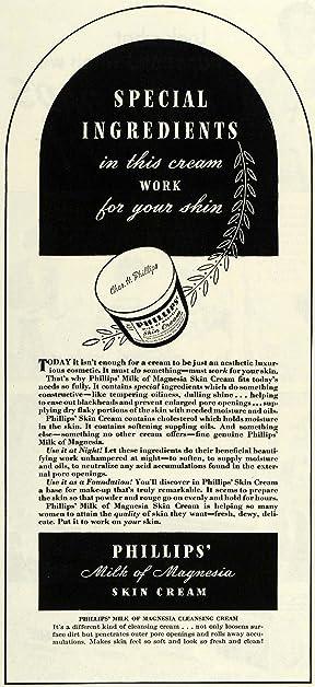 1943 Ad Milk Magnesia Skin Cream Chemical Cleanse Face - Original Print Ad
