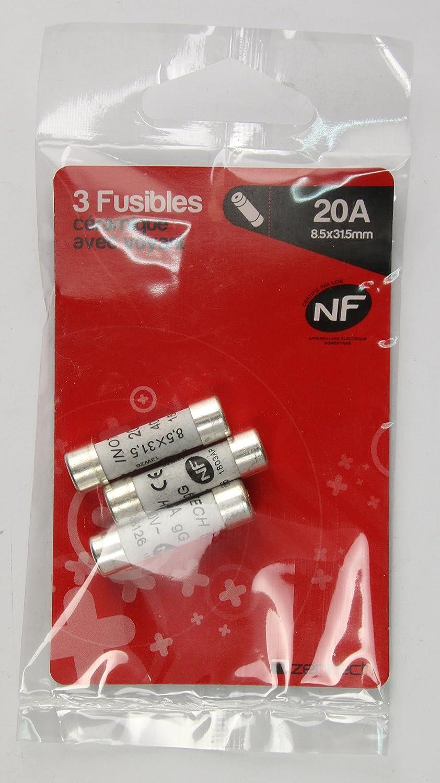 Zenitech 3 fusibles c/éramique 8,5x 31,5 20A /à voyant NF