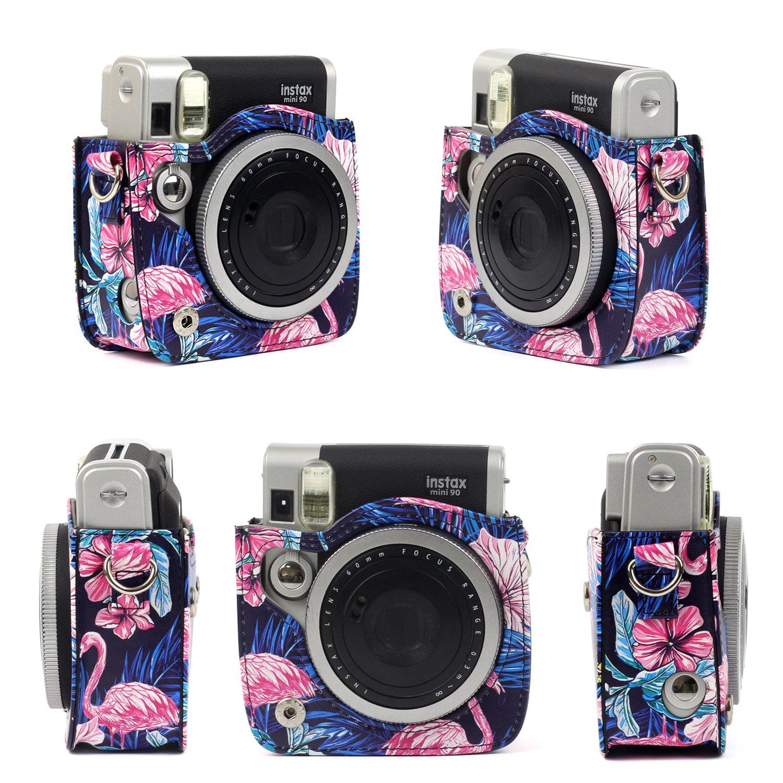 CAIUL 7 in 1 Fujifilm Instax Mini 90 Camera Accessori Set Nero Camera Custodia//Mini Album//Close Up Selfie Lente// 4 Lenti Colorate Filtri//Parete Appendere Telaio//Colorato Foto Cornice//Film Stickers