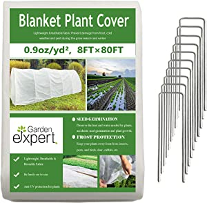 Garden EXPERT Plant Covers Freeze Protection Floating Row Cover 0.9oz Fabric Frost Cloth Plant Blanket for Plants & Vegetables in Winter(8FTx80FT,with 10 PCS Staples Stakes)