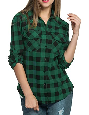 177fb60f451 Image Unavailable. Image not available for. Color  Oyamiki Women s Plus  Size Flannel Plaid Shirt Green XXL