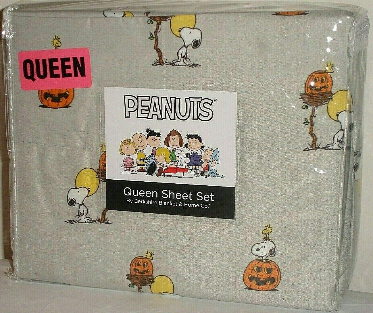 Peanuts Snoopy & Woodstock Halloween Queen Sheet Set by Berkshire ~ Pumpkins! by Berk Shire
