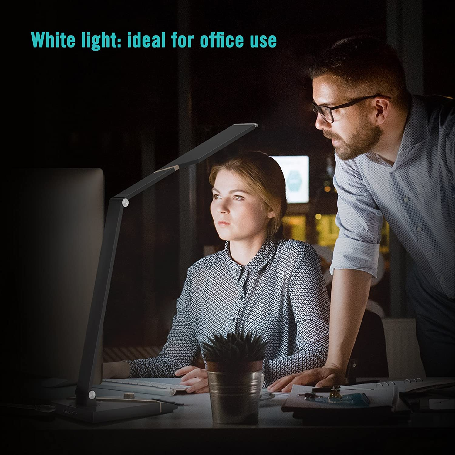 Office Lamp with 1000 Lux Bright Yet Eye-Caring LED Panel 5 Color Modes Official Member of Philips EnabLED Licensing Program Night light 1-Hour Timer TaoTronics LED Desk Lamp USB Charging Port