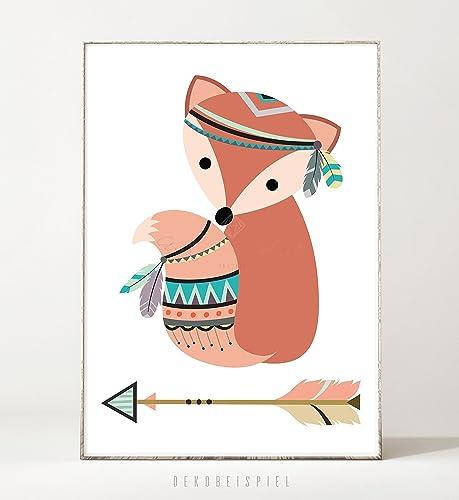 Kunstdruck / Poster TRIBAL: FUCHS -ungerahmt- Tier, Bild ...