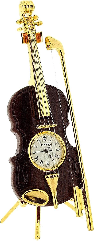GTP IMP84 - Violín en miniatura con acabado dorado con lazo, diseño de violín