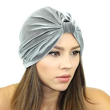 d5bf6fae69b Amazon.com   Velvet Turban Headband (Grey)   Beauty