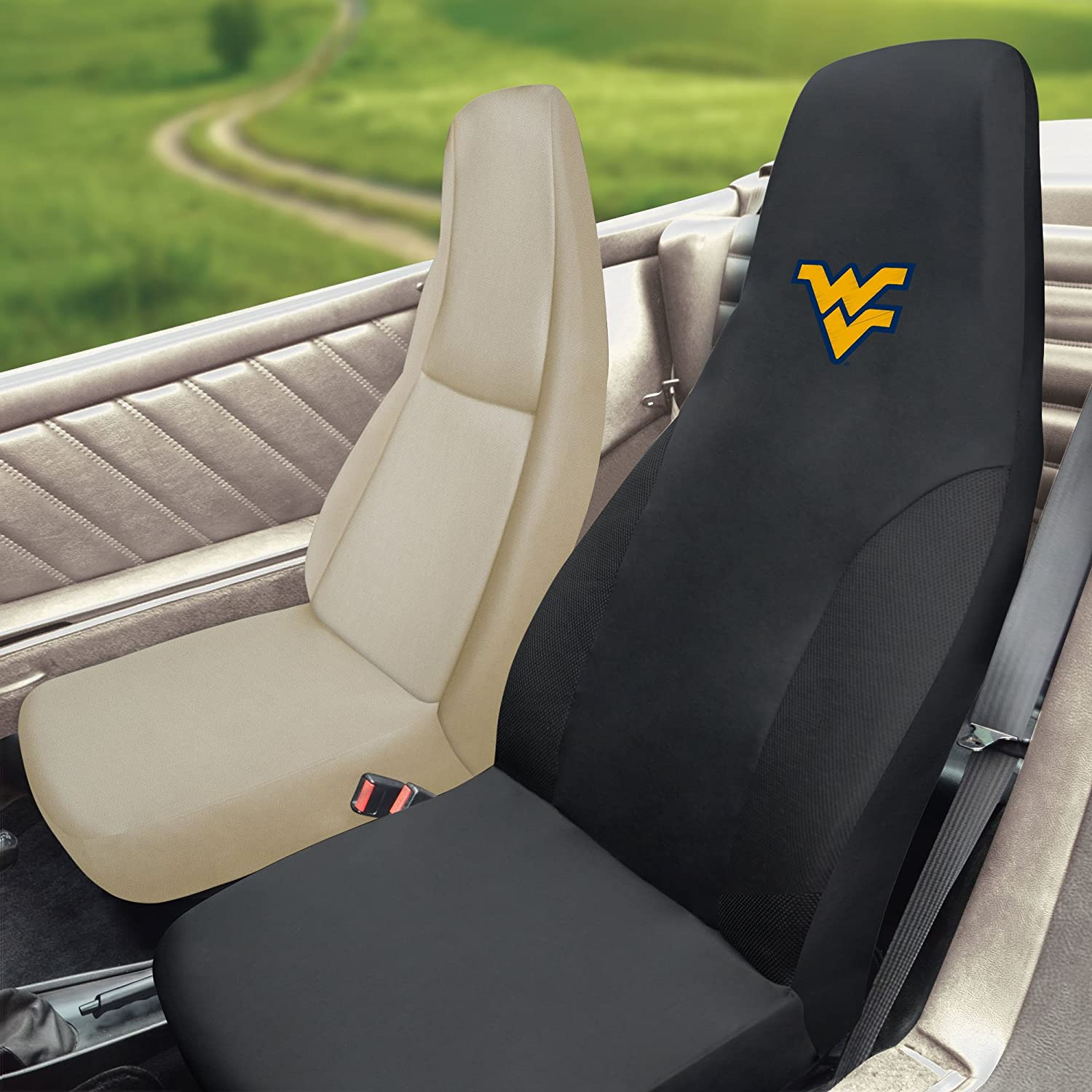 FANMATS NCAA West Virginia University Mountaineers Polyester Seat Cover 15053