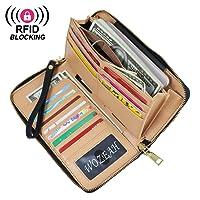 WOZEAH Women's RFID Blocking PU Leather Zip Around Wallet Clutch Large Travel Purse