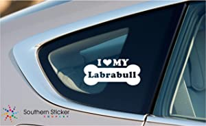 I Love My Labrabull Dog Bone Puppy Symbol White Vinyl Car Sticker Symbol Silhouette Keypad Track Pad Decal Laptop Skin Ipad Macbook Window Truck Motorcycle