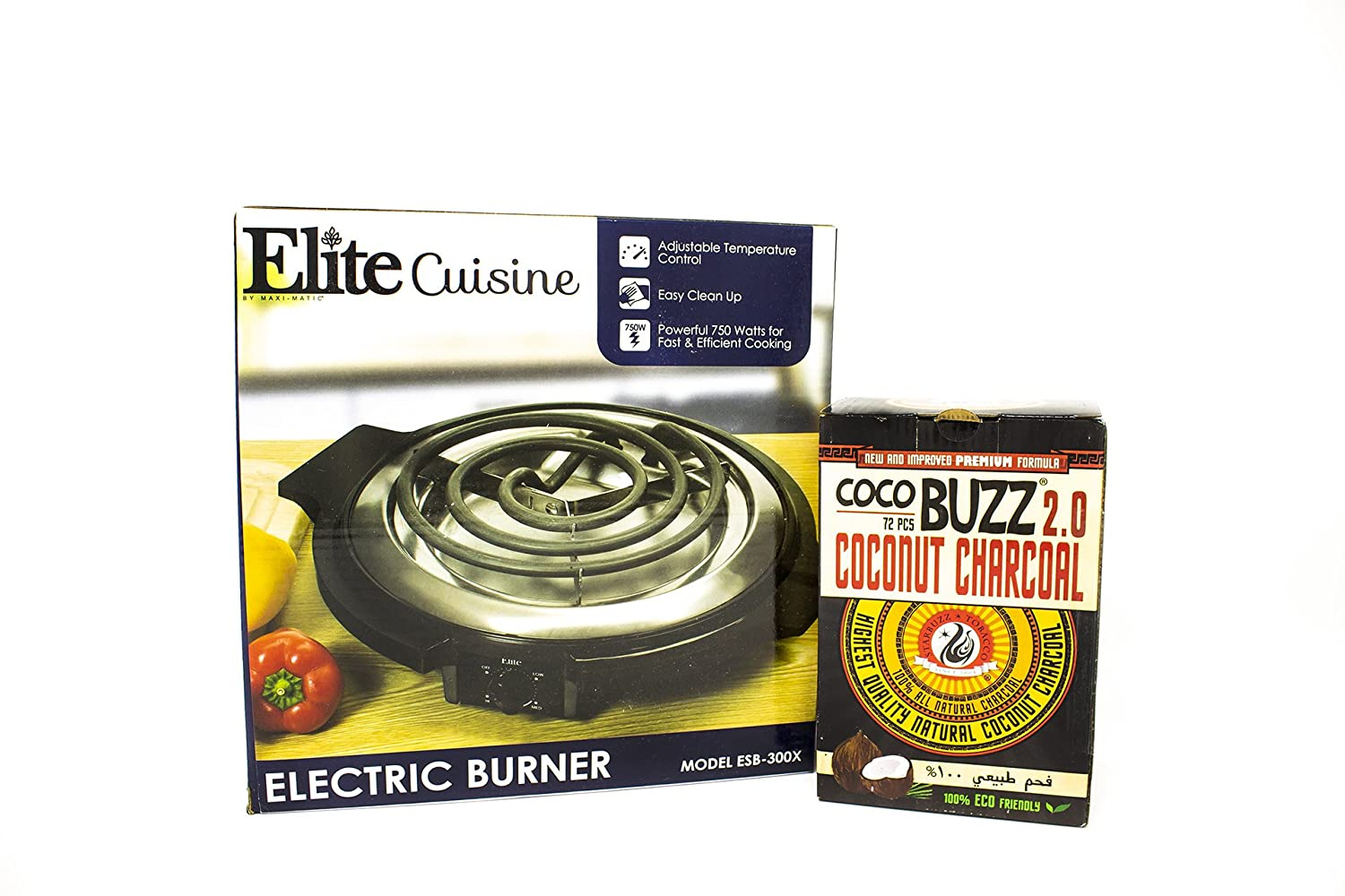 Amazon.com: Coco Buzz 2.0 Hookah Coals (72 Pieces) + Elite Cuisine ESB-300X Maxi-Matic 750 Watt Single Burner Electric Hot Plate, Black by PrimeDeals: ...