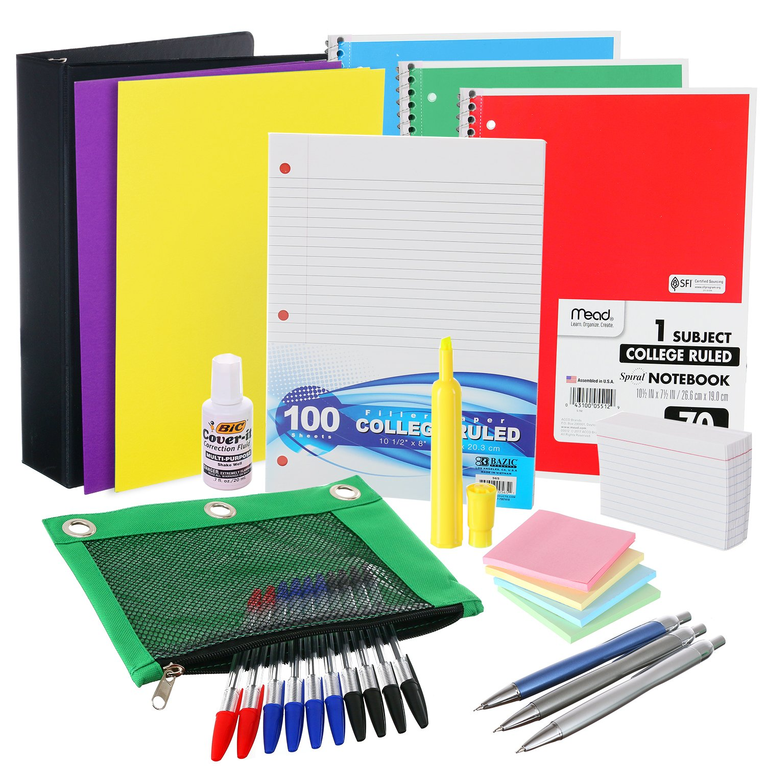 Back to School Supplies Kit for Eighth to Twelfth Grade Kids: The Complete Classroom Supply Bundle - Set of 20 High School Essentials - Pens, Notebooks, More Stuff