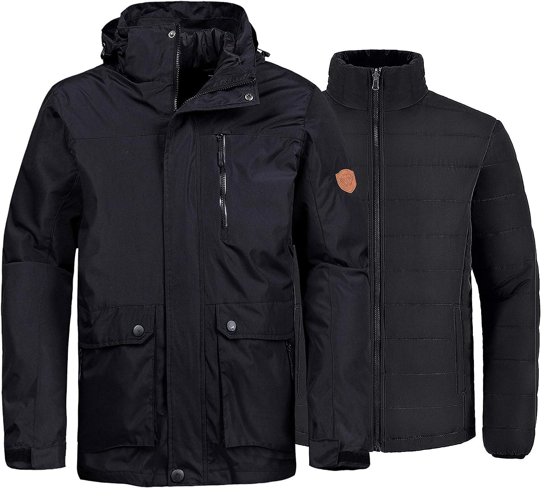 Wantdo Mens 3-in-1 Ski Jacket Waterproof Winter Snow Coat Windproof Puffy Liner