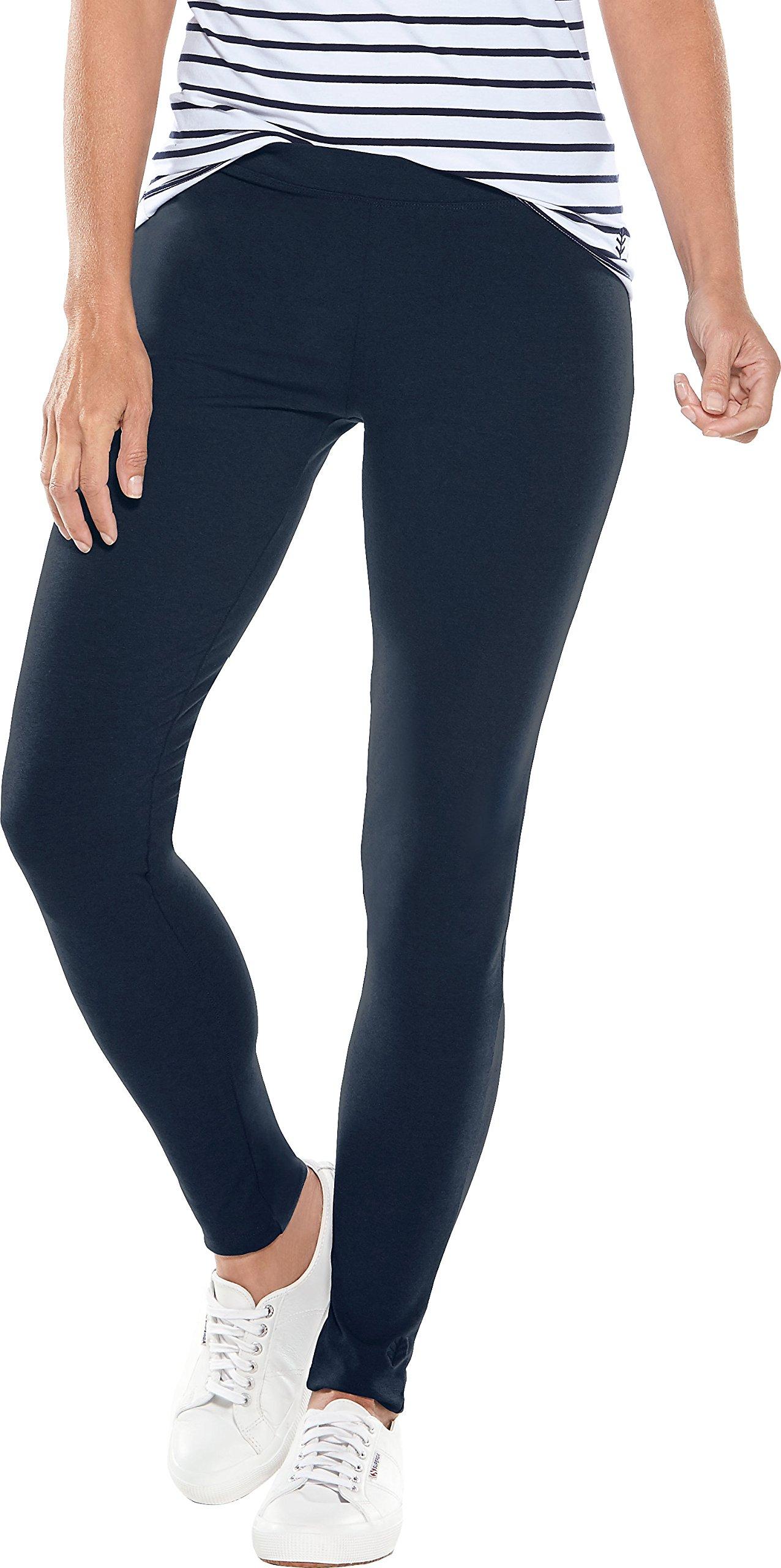 Coolibar UPF 50+ Women's Summer Leggings - Sun Protective (Large- Navy)