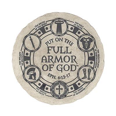Dicksons Put On The Full Armor of God Bold Cream 10 x 10 Resin Stone Garden Stone : Garden & Outdoor