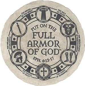 Dicksons Put On The Full Armor of God Bold Cream 10 x 10 Resin Stone Garden Stone